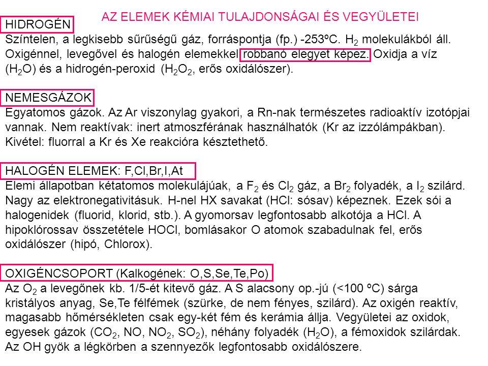 HIDROGÉN Színtelen, a legkisebb sűrűségű gáz, forráspontja (fp.) -253ºC.