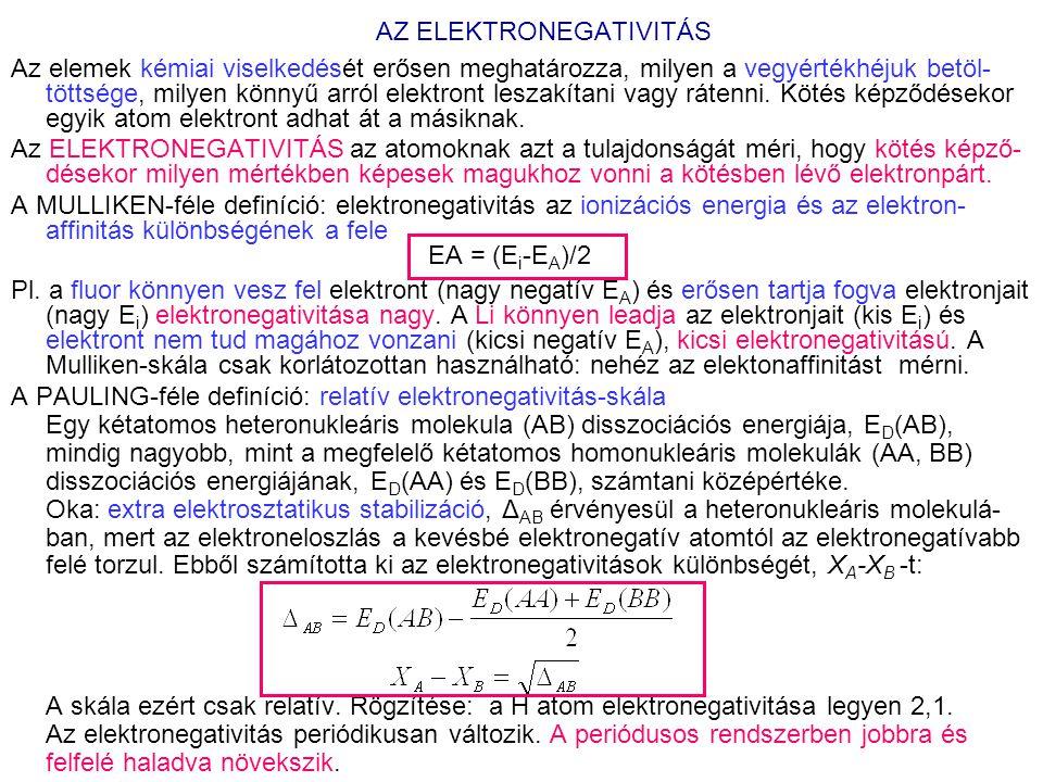 AZ ELEKTRONEGATIVITÁS Az elemek kémiai viselkedését erősen meghatározza, milyen a vegyértékhéjuk betöl- töttsége, milyen könnyű arról elektront leszakítani vagy rátenni.
