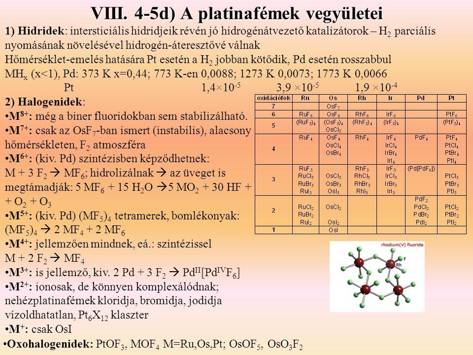 VIII. 4-5d) A platinafémek vegyületei 1) Hidridek: intersticiális hidridjeik révén jó hidrogénátvezető katalizátorok – H 2 parciális nyomásának növelé