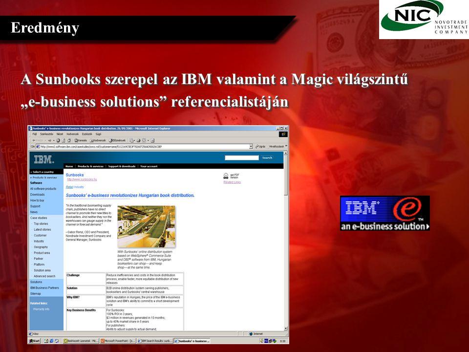 """A Sunbooks szerepel az IBM valamint a Magic világszintű """"e-business solutions referencialistáján A Sunbooks szerepel az IBM valamint a Magic világszintű """"e-business solutions referencialistáján Eredmény"""