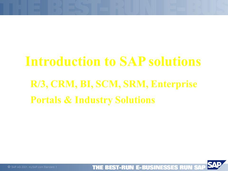  SAP AG 2001, mySAP.com Standard 12 Extend e-Business Leadership Through Focus Enterprise Portals MarketsPortals Supply Chain Management Business Intelligence Market Places & Private Exchanges SRM Customer Relationship Management