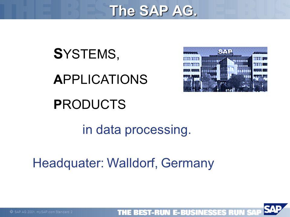  SAP AG 2001, mySAP.com Standard 13 SAP Enterprise portals  Termék célja: A SAP és nem SAP alkalmazások egy felhasználói felületen való integrálása.