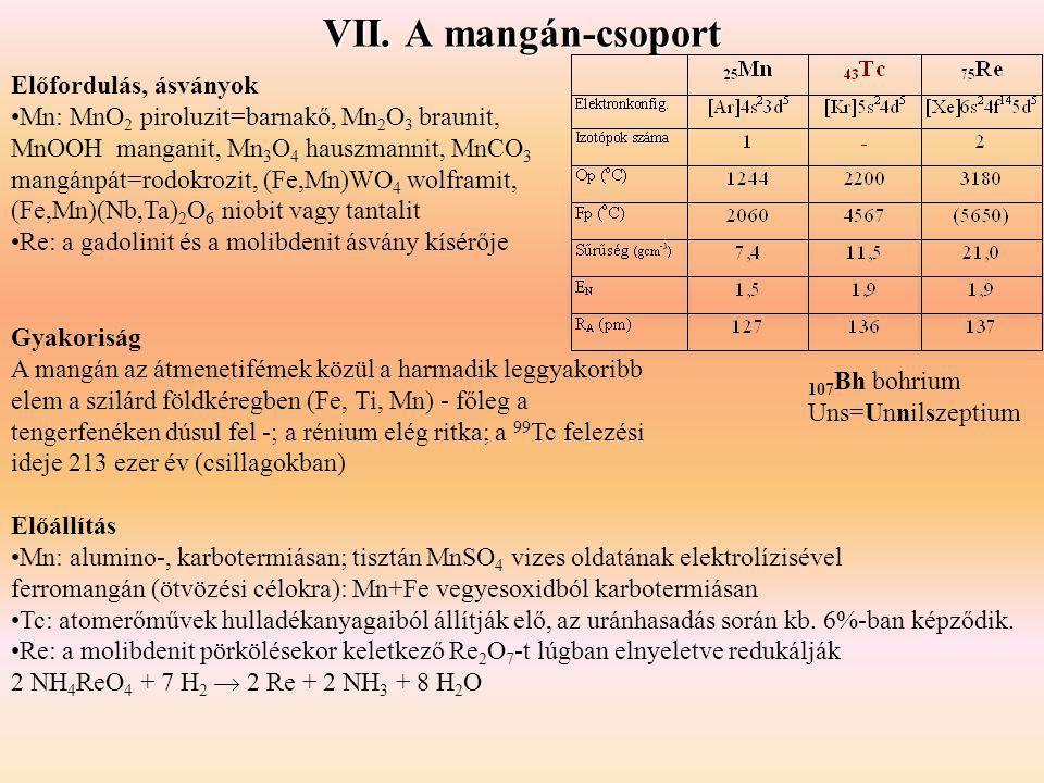 Gyakoriság A mangán az átmenetifémek közül a harmadik leggyakoribb elem a szilárd földkéregben (Fe, Ti, Mn) - főleg a tengerfenéken dúsul fel -; a rén