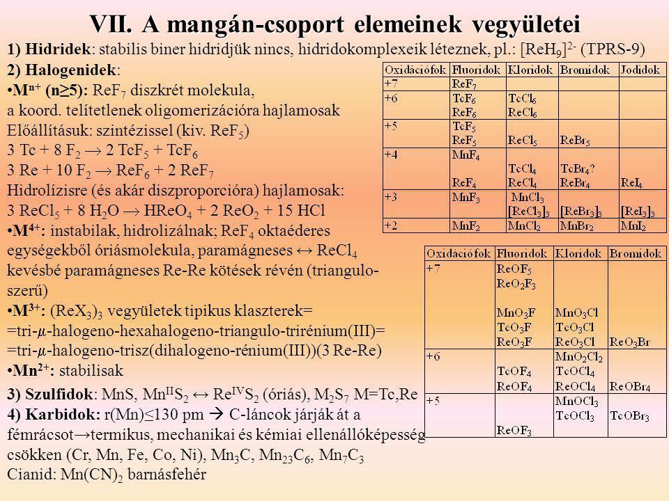 VII. A mangán-csoport elemeinek vegyületei 1) Hidridek: stabilis biner hidridjük nincs, hidridokomplexeik léteznek, pl.: [ReH 9 ] 2- (TPRS-9) 2) Halog