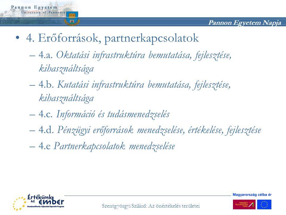 Pannon Egyetem Napja Szentgyörgyi Szilárd: Az önértékelés területei 4. Erőforrások, partnerkapcsolatok –4.a. Oktatási infrastruktúra bemutatása, fejle