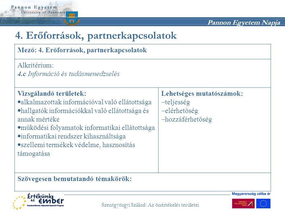 Pannon Egyetem Napja Szentgyörgyi Szilárd: Az önértékelés területei 4. Erőforrások, partnerkapcsolatok Mező: 4. Erőforrások, partnerkapcsolatok Alkrit