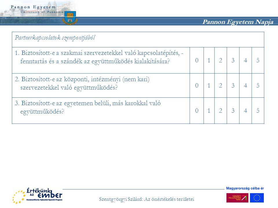 Pannon Egyetem Napja Szentgyörgyi Szilárd: Az önértékelés területei Partnerkapcsolatok szempontjából 1. Biztosított-e a szakmai szervezetekkel való ka