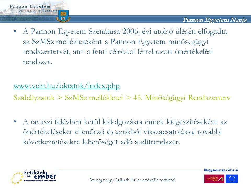 Pannon Egyetem Napja Szentgyörgyi Szilárd: Az önértékelés területei A Pannon Egyetem Szenátusa 2006. évi utolsó ülésén elfogadta az SzMSz mellékleteké