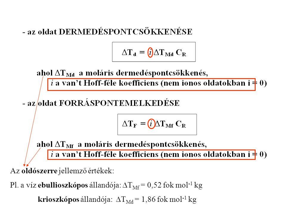 Az oldószerre jellemző értékek: Pl. a víz ebullioszkópos állandója:  T Mf = 0,52 fok mol -1 kg krioszkópos állandója:  T Md = 1,86 fok mol -1 kg