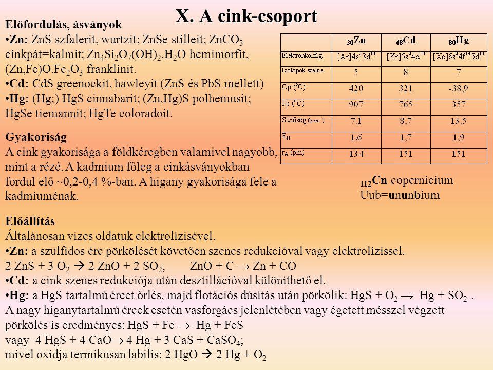 Gyakoriság A cink gyakorisága a földkéregben valamivel nagyobb, mint a rézé. A kadmium főleg a cinkásványokban fordul elő ~0,2-0,4 %-ban. A higany gya
