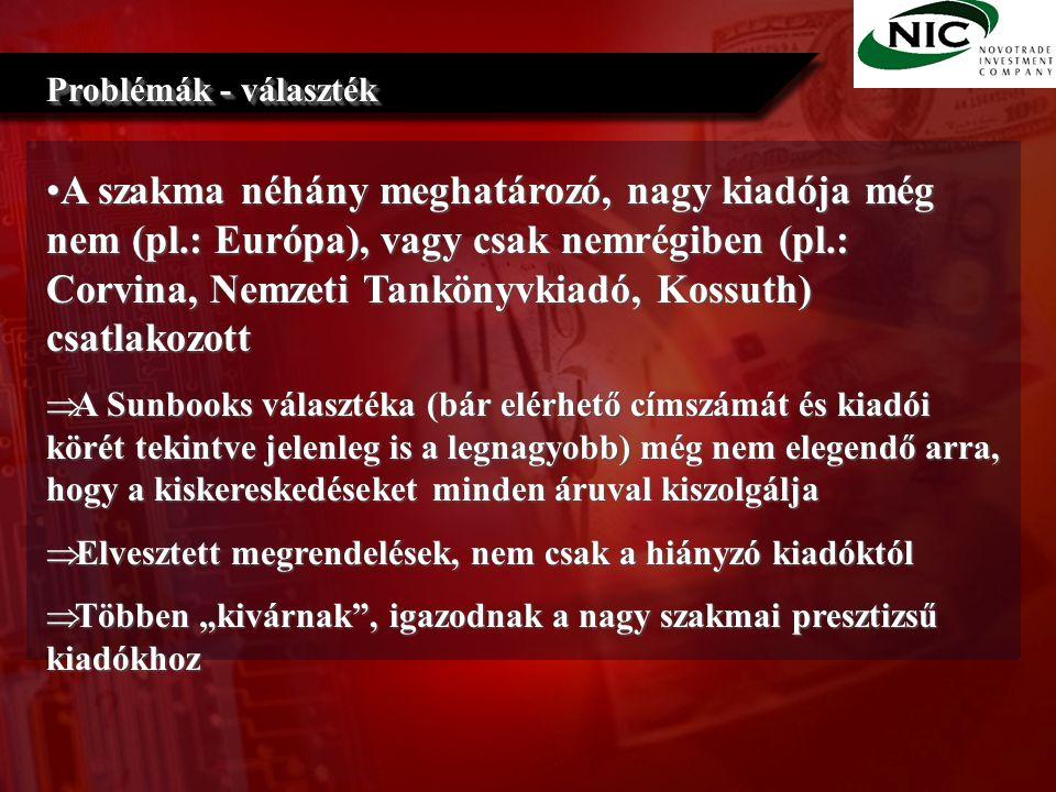 """A szakma néhány meghatározó, nagy kiadója még nem (pl.: Európa), vagy csak nemrégiben (pl.: Corvina, Nemzeti Tankönyvkiadó, Kossuth) csatlakozottA szakma néhány meghatározó, nagy kiadója még nem (pl.: Európa), vagy csak nemrégiben (pl.: Corvina, Nemzeti Tankönyvkiadó, Kossuth) csatlakozott  A Sunbooks választéka (bár elérhető címszámát és kiadói körét tekintve jelenleg is a legnagyobb) még nem elegendő arra, hogy a kiskereskedéseket minden áruval kiszolgálja  Elvesztett megrendelések, nem csak a hiányzó kiadóktól  Többen """"kivárnak , igazodnak a nagy szakmai presztizsű kiadókhoz Problémák - választék"""