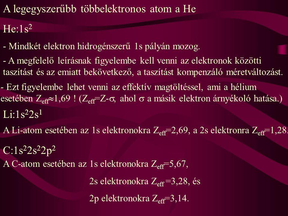 A legegyszerűbb többelektronos atom a He He:1s 2 - Mindkét elektron hidrogénszerű 1s pályán mozog. - A megfelelő leírásnak figyelembe kell venni az el
