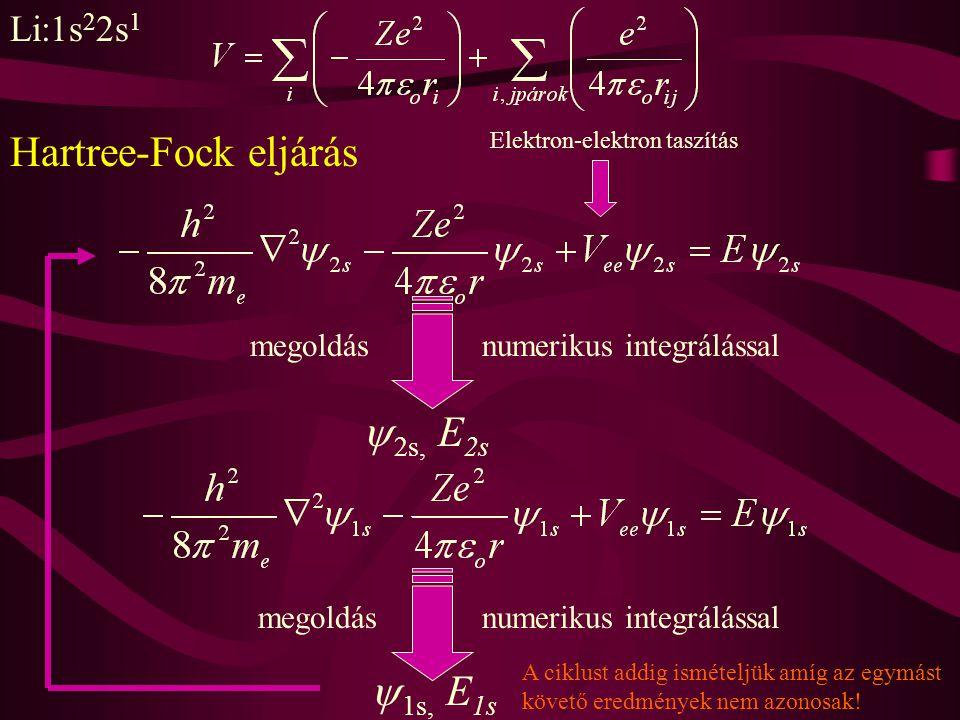 Li:1s 2 2s 1 Elektron-elektron taszítás megoldásnumerikus integrálással  2s, E 2s  1s, E 1s megoldásnumerikus integrálással A ciklust addig ismételj