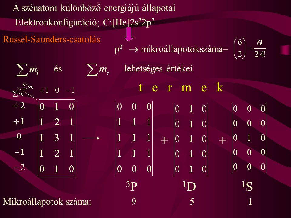 A szénatom különböző energiájú állapotai Elektronkonfiguráció; C:[He]2s 2 2p 2 p 2  mikroállapotokszáma= éslehetséges értékei ++ t e r m e k 3 P 1 D