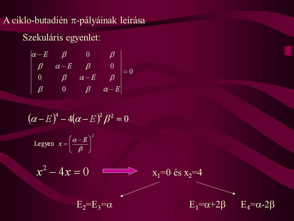 A ciklo-butadién  -pályáinak leírása Szekuláris egyenlet: x 1 =0 és x 2 =4 E 2 =E 3 =  E 1 =  +2  E 4 =  -2 