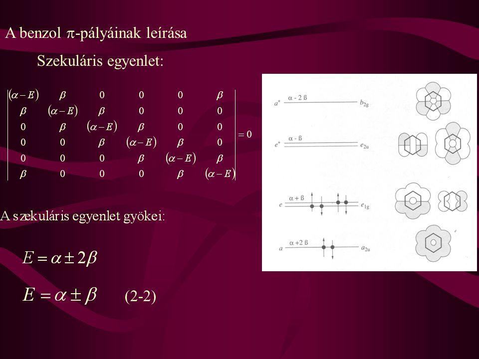 A benzol  -pályáinak leírása Szekuláris egyenlet: (2-2)
