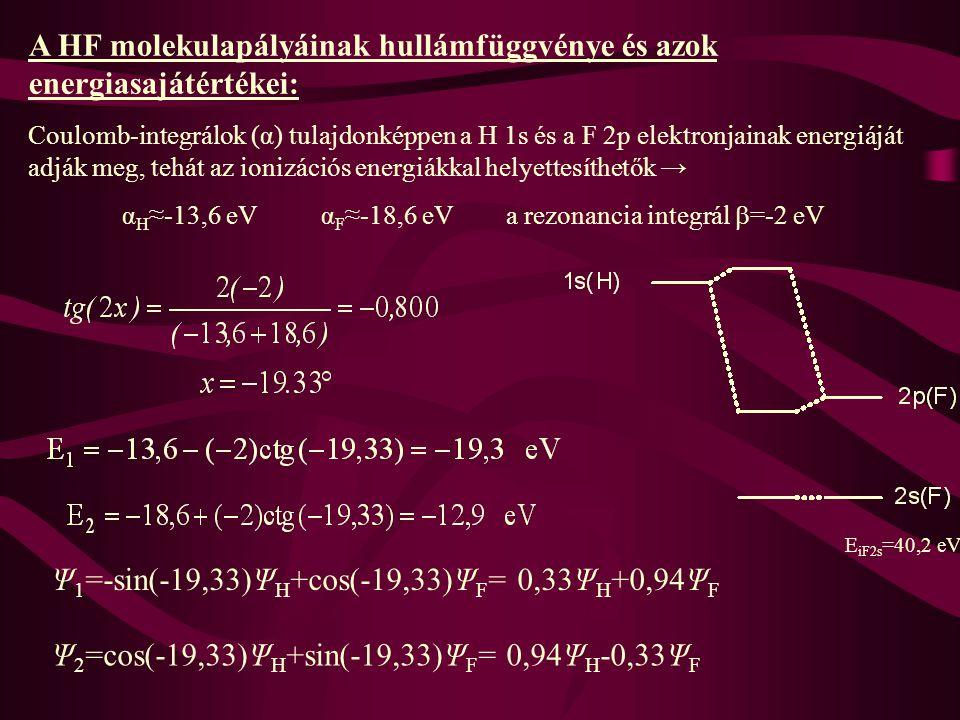 A HF molekulapályáinak hullámfüggvénye és azok energiasajátértékei: Coulomb-integrálok (α) tulajdonképpen a H 1s és a F 2p elektronjainak energiáját adják meg, tehát az ionizációs energiákkal helyettesíthetők → α H ≈-13,6 eV α F ≈-18,6 eV a rezonancia integrál  =-2 eV Ψ 1 =-sin(-19,33)Ψ H +cos(-19,33)Ψ F = 0,33Ψ H +0,94Ψ F Ψ 2 =cos(-19,33)Ψ H +sin(-19,33)Ψ F = 0,94Ψ H -0,33Ψ F E iF2s =40,2 eV