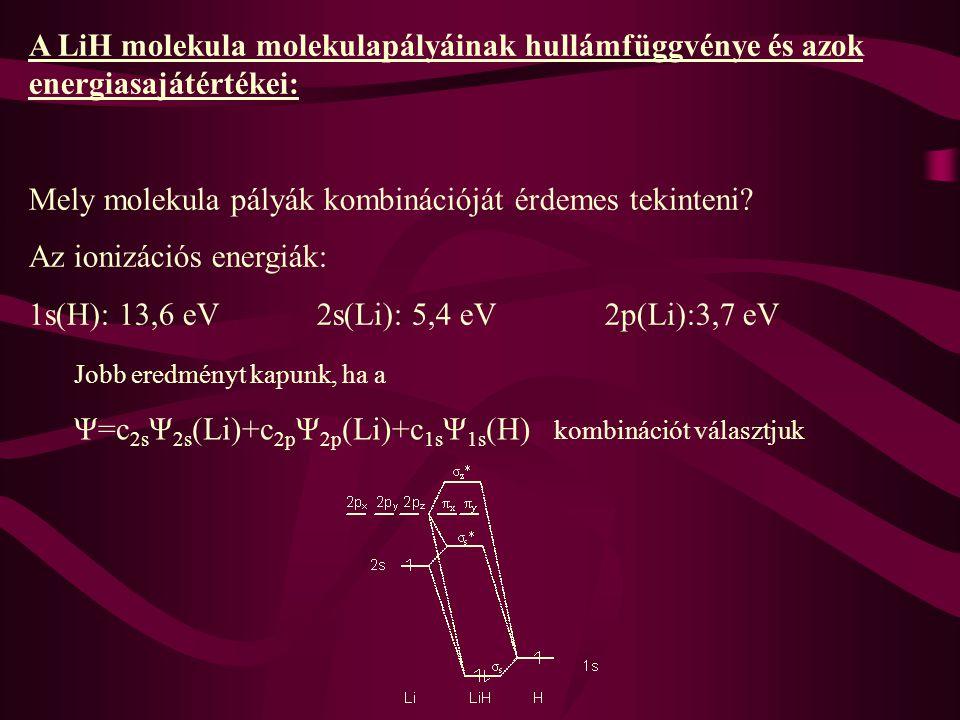 A LiH molekula molekulapályáinak hullámfüggvénye és azok energiasajátértékei: Mely molekula pályák kombinációját érdemes tekinteni? Az ionizációs ener