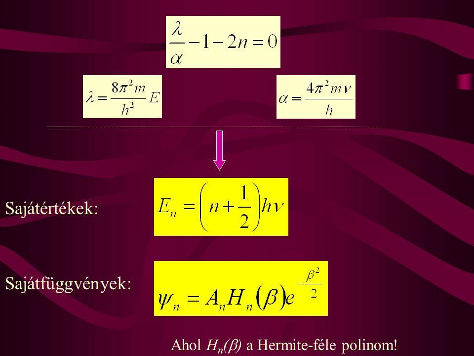 Sajátértékek: Sajátfüggvények: Ahol H n (  ) a Hermite-féle polinom!