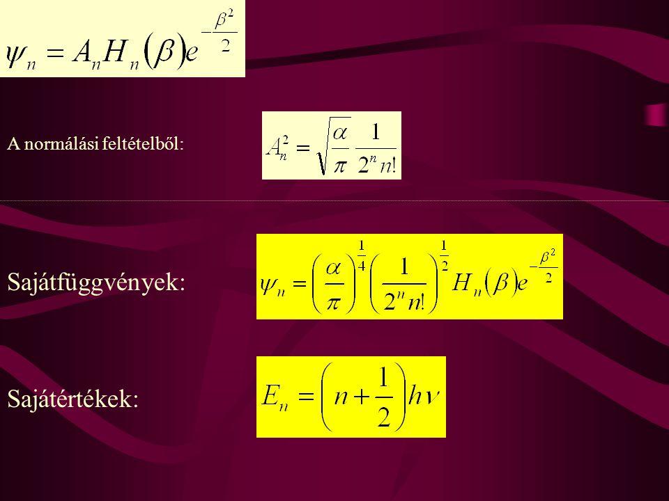 A normálási feltételből: Sajátfüggvények: Sajátértékek: