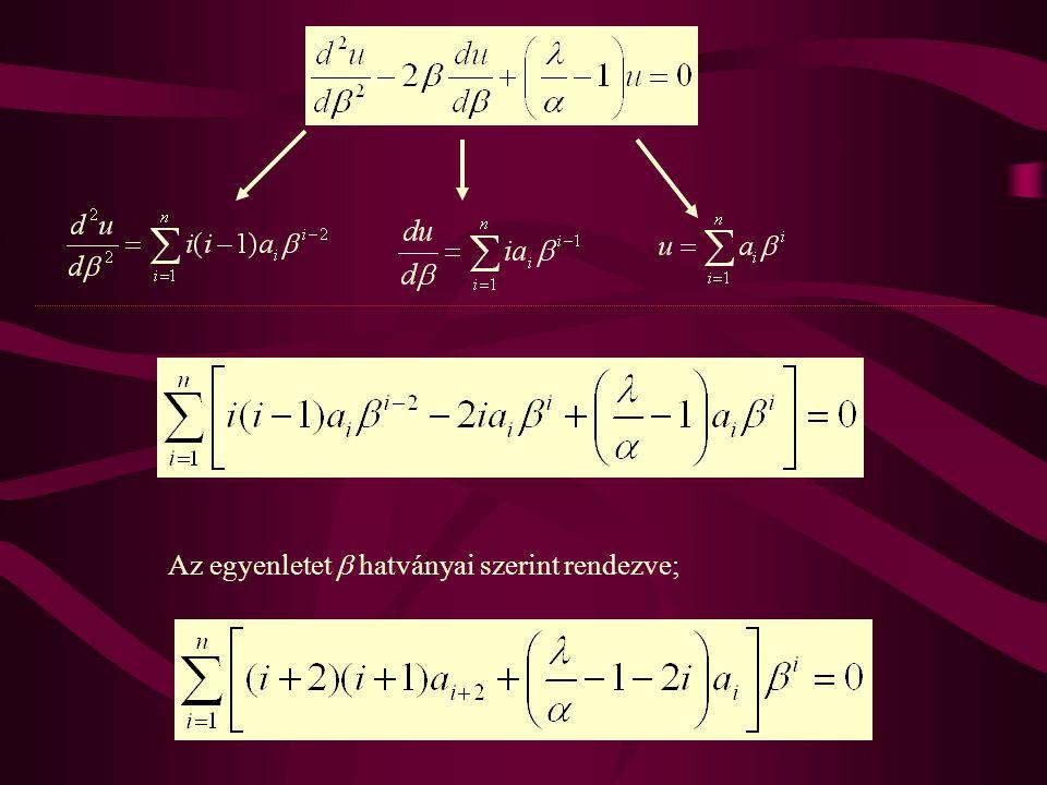 Az egyenletet  hatványai szerint rendezve;