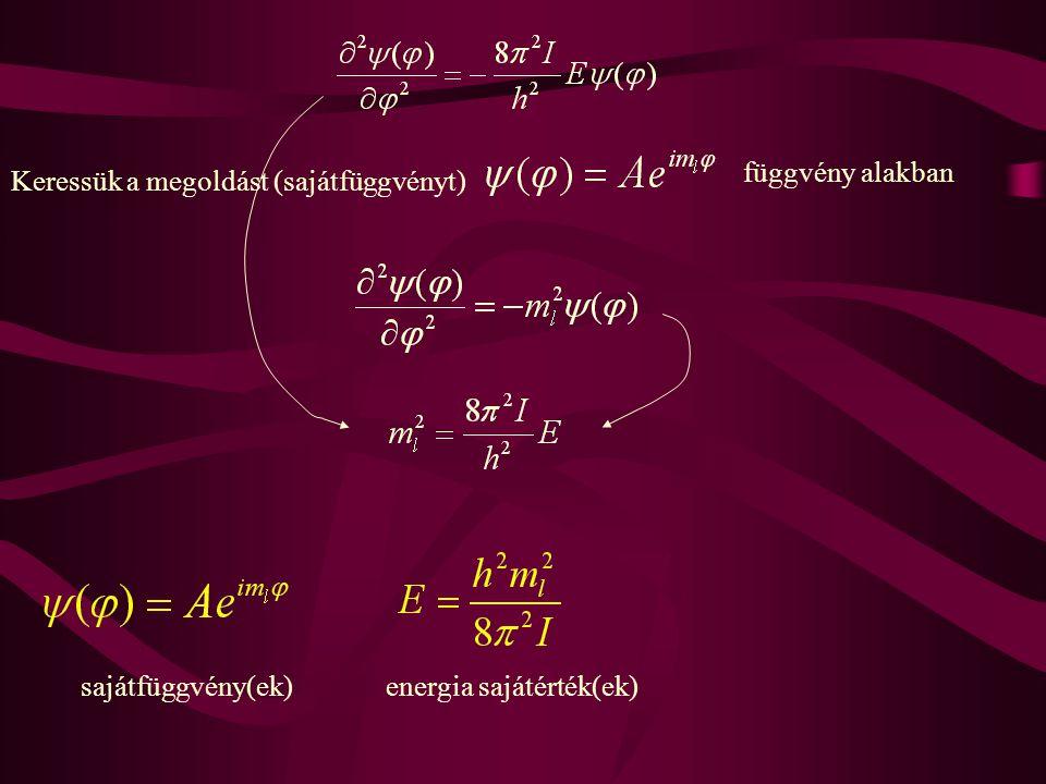 Explicit alakjához meg kell adni A értékét és m l lehetséges értékeit.