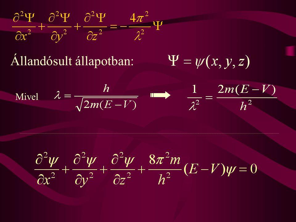 A  (x,y,z) hullámfüggvény sajátságai: - A hely folytonos és egyértelmű függvénye -  = c 1  1 +c 2  2 (szuperpozíció elve)