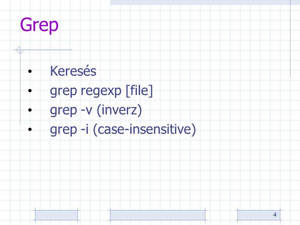 4 Grep Keresés grep regexp [file] grep -v (inverz) grep -i (case-insensitive)