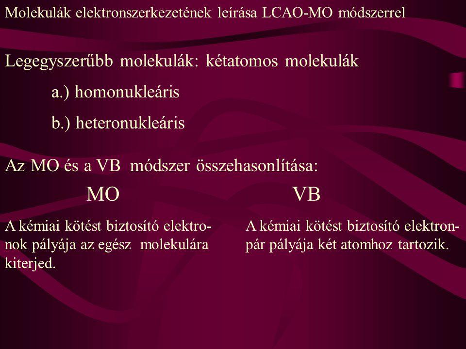Molekulák elektronszerkezetének leírása LCAO-MO módszerrel Legegyszerűbb molekulák: kétatomos molekulák a.) homonukleáris b.) heteronukleáris Az MO és