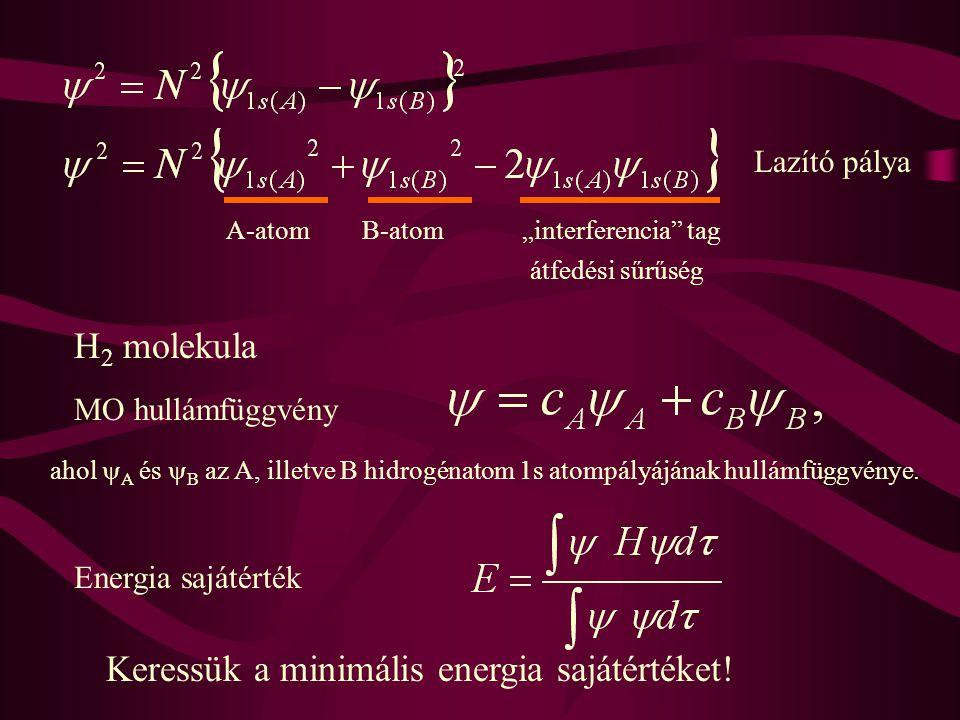 """Lazító pálya A-atomB-atom""""interferencia"""" tag átfedési sűrűség H 2 molekula MO hullámfüggvény Energia sajátérték Keressük a minimális energia sajátérté"""