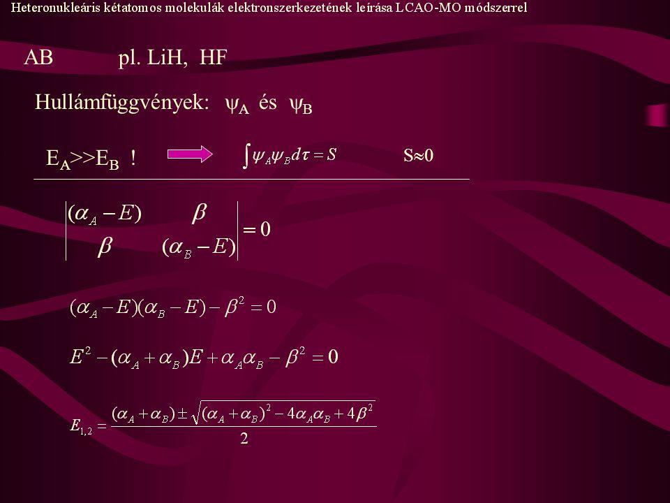 ABpl. LiH, HF Hullámfüggvények:  A és  B E A >>E B ! S0S0