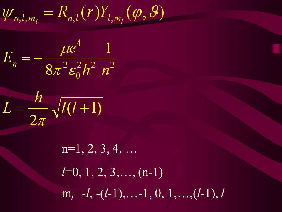 n=1, 2, 3, 4, … l=0, 1, 2, 3,…, (n-1) m l =-l, -(l-1),…-1, 0, 1,…,(l-1), l