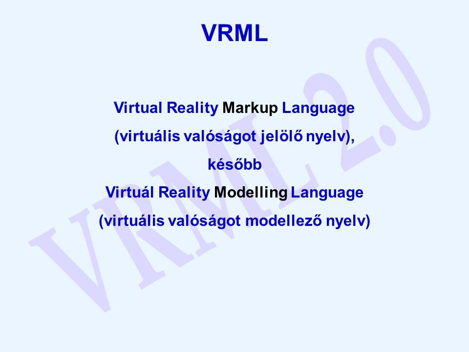 A VRML fájlok az alábbi négy fő összetevőből állnak: -A VRML fejléc -Prototípusok -Alakzatok, interpolátorok, szenzorok és scriptek -Útvonalak A VRML fájl az előbbieken kívül még az alábbi elemeket is tartalmazhatja: -Megjegyzések -Csomópontok -Mezők és mezőértékek -Definiált mezőnevek -Használt mezőnevek