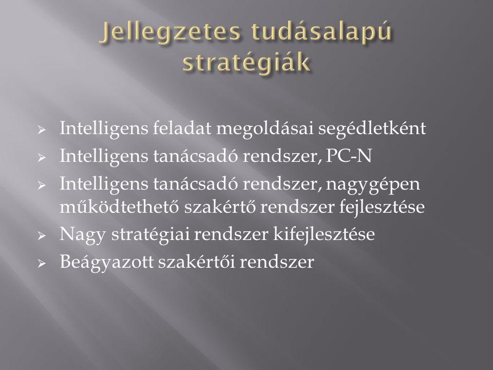  Intelligens feladat megoldásai segédletként  Intelligens tanácsadó rendszer, PC-N  Intelligens tanácsadó rendszer, nagygépen működtethető szakértő rendszer fejlesztése  Nagy stratégiai rendszer kifejlesztése  Beágyazott szakértői rendszer