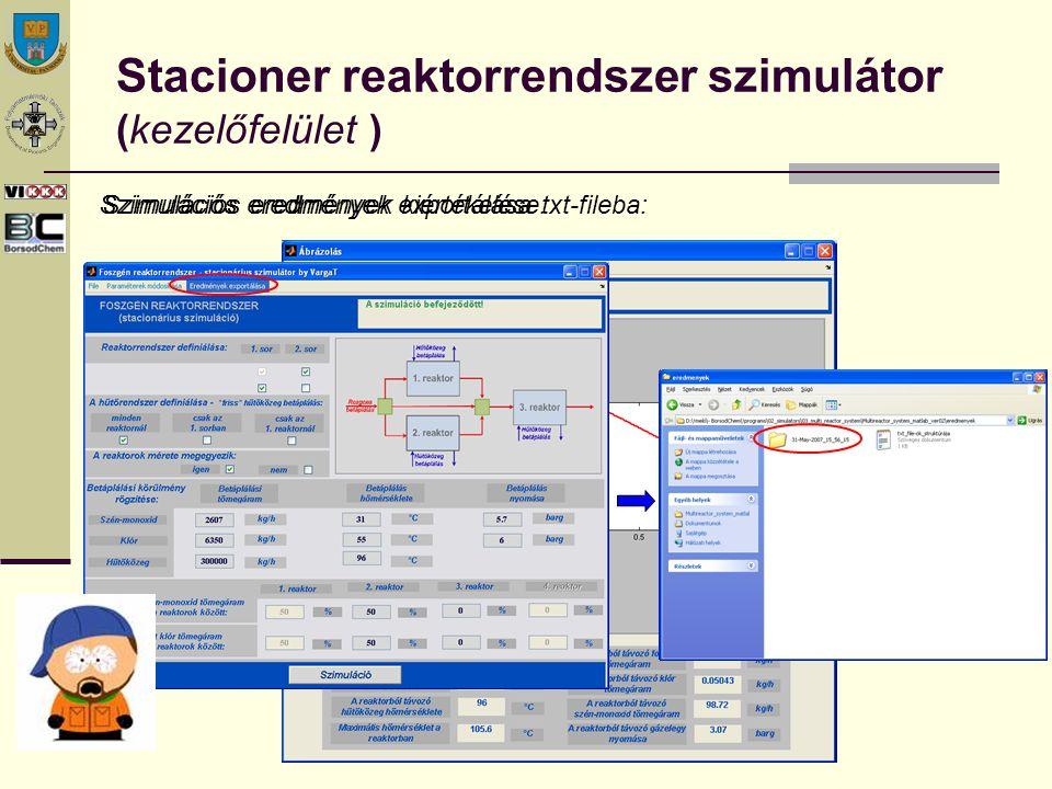 Stacioner reaktorrendszer szimulátor (kezelőfelület ) Szimulációs eredmények kiértékelése:Szimulációs eredmények exportálása txt-fileba:
