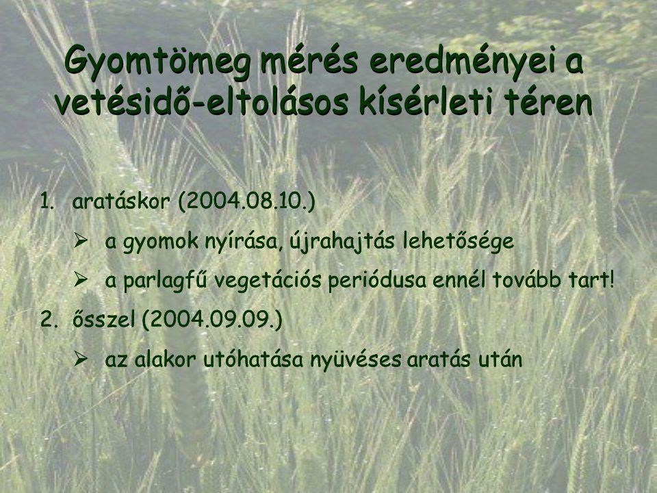 1.aratáskor (2004.08.10.)  a gyomok nyírása, újrahajtás lehetősége  a parlagfű vegetációs periódusa ennél tovább tart! 2.ősszel (2004.09.09.)  az a