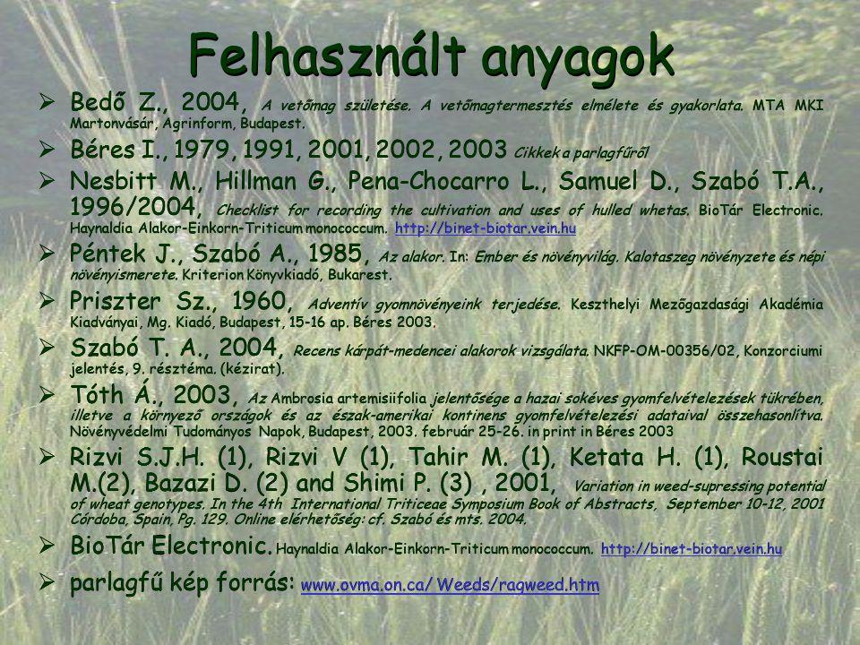 Felhasznált anyagok  Bedő Z., 2004, A vetőmag születése. A vetőmagtermesztés elmélete és gyakorlata. MTA MKI Martonvásár, Agrinform, Budapest.  Bére