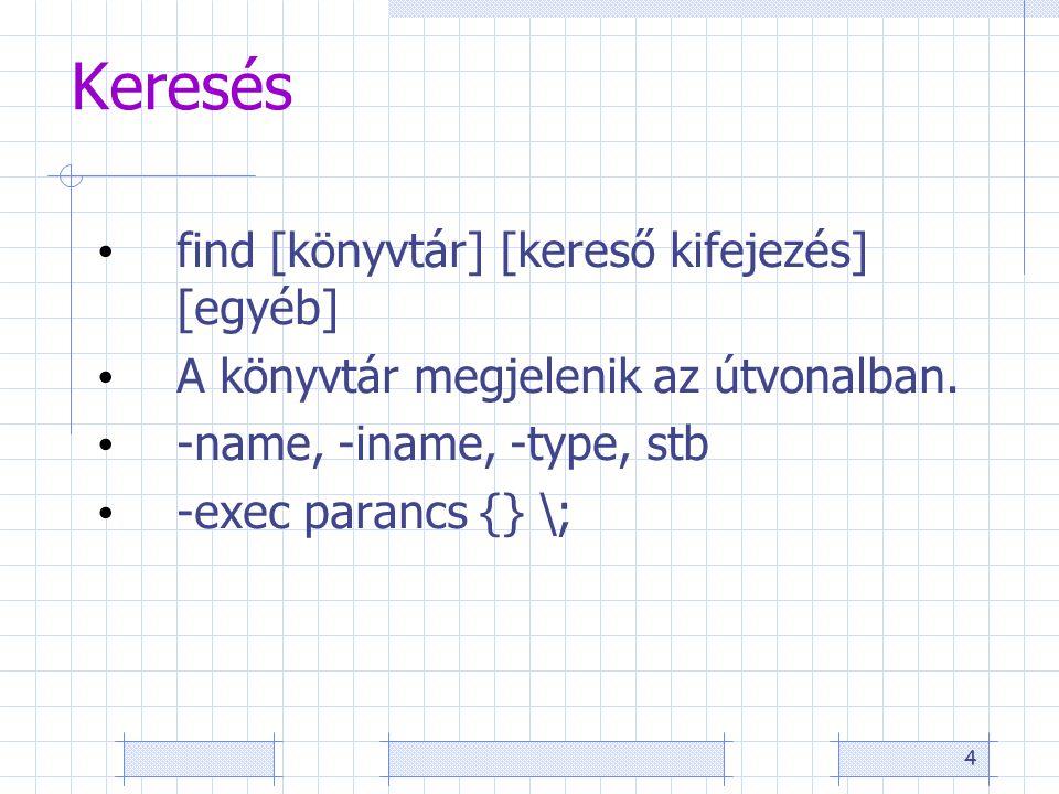 4 Keresés find [könyvtár] [kereső kifejezés] [egyéb] A könyvtár megjelenik az útvonalban.