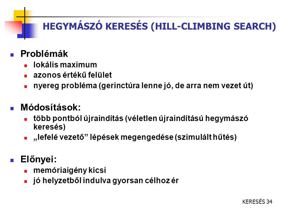 KERESÉS 34 HEGYMÁSZÓ KERESÉS (HILL-CLIMBING SEARCH) Problémák lokális maximum azonos értékű felület nyereg probléma (gerinctúra lenne jó, de arra nem