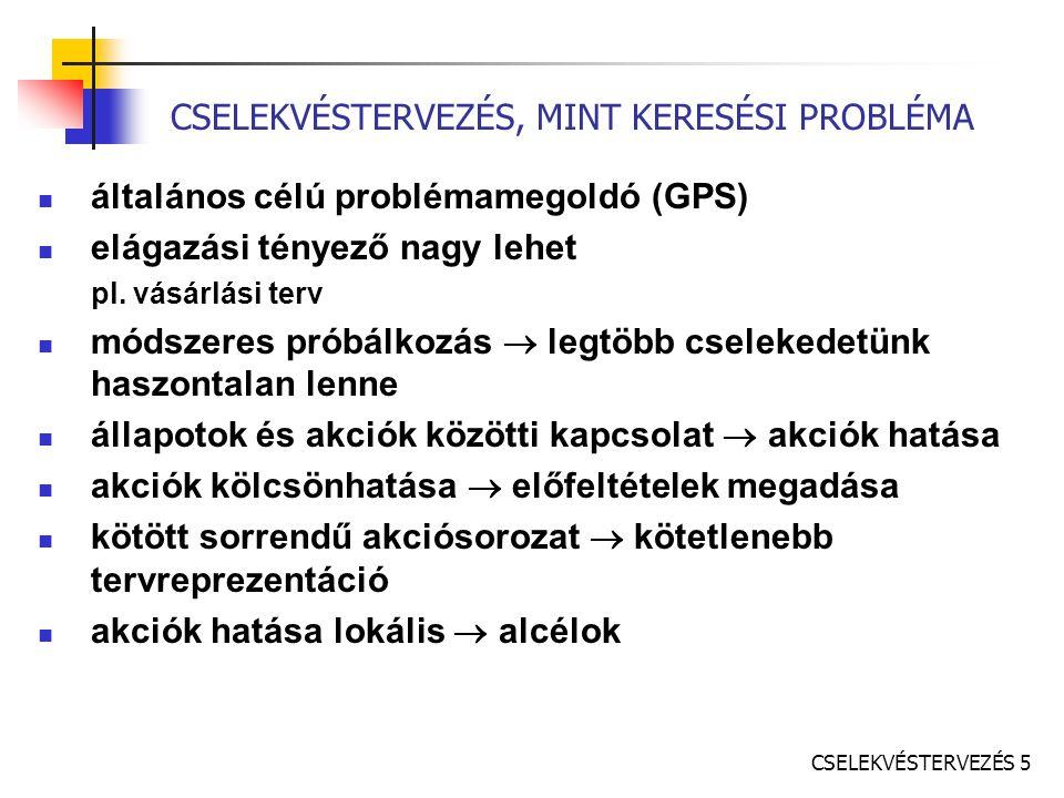CSELEKVÉSTERVEZÉS 5 CSELEKVÉSTERVEZÉS, MINT KERESÉSI PROBLÉMA általános célú problémamegoldó (GPS) elágazási tényező nagy lehet pl.