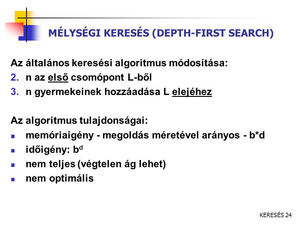 KERESÉS 24 MÉLYSÉGI KERESÉS (DEPTH-FIRST SEARCH) Az általános keresési algoritmus módosítása: 2.n az első csomópont L-ből 3.n gyermekeinek hozzáadása