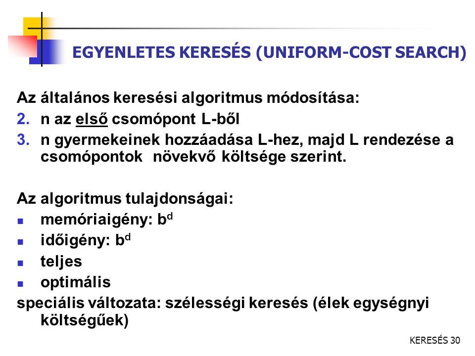KERESÉS 30 EGYENLETES KERESÉS (UNIFORM-COST SEARCH) Az általános keresési algoritmus módosítása: 2.n az első csomópont L-ből 3.n gyermekeinek hozzáadá