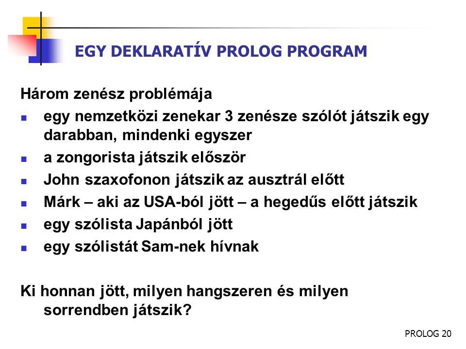 PROLOG 20 EGY DEKLARATÍV PROLOG PROGRAM Három zenész problémája egy nemzetközi zenekar 3 zenésze szólót játszik egy darabban, mindenki egyszer a zongo