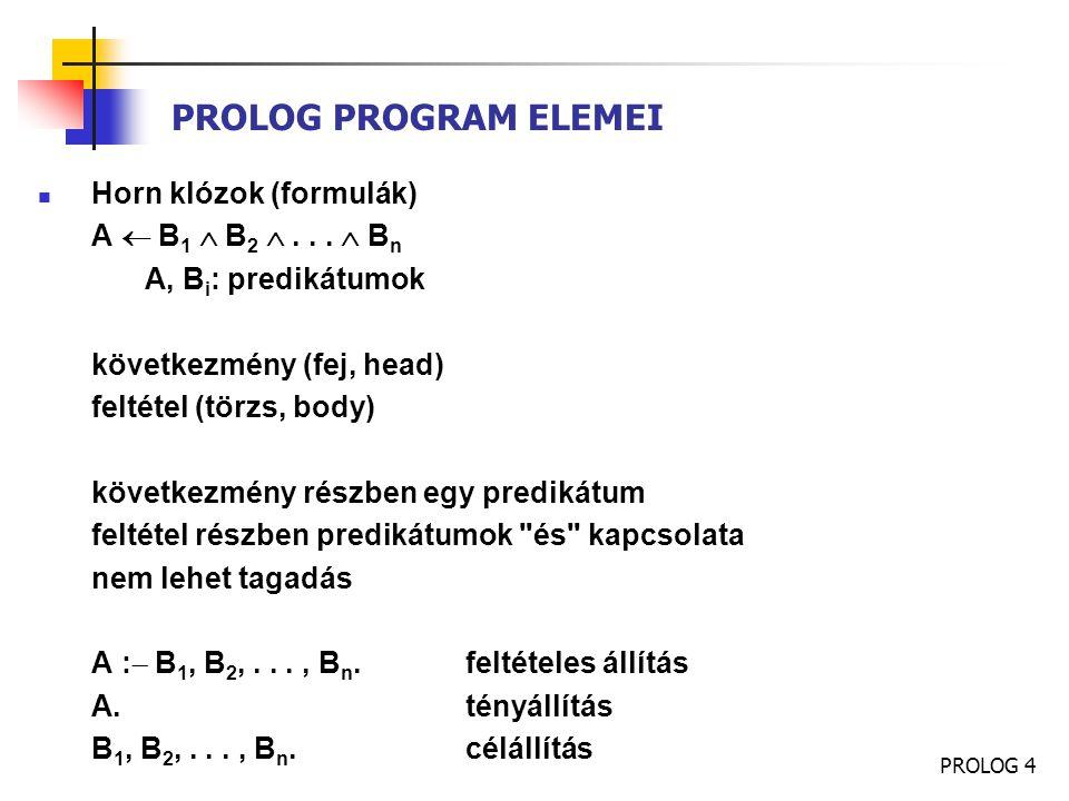 PROLOG 5 PROLOG PROGRAM ELEMEI Példa: Elsőrendű logika jelöléseivel:  x  l eleme(x, [x|l])  x  y  l eleme(x, l)  eleme(x, [y|l]) Prolog jelöléssel: eleme(X, [X|L]).