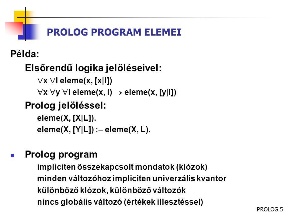PROLOG 5 PROLOG PROGRAM ELEMEI Példa: Elsőrendű logika jelöléseivel:  x  l eleme(x, [x|l])  x  y  l eleme(x, l)  eleme(x, [y|l]) Prolog jelöléss