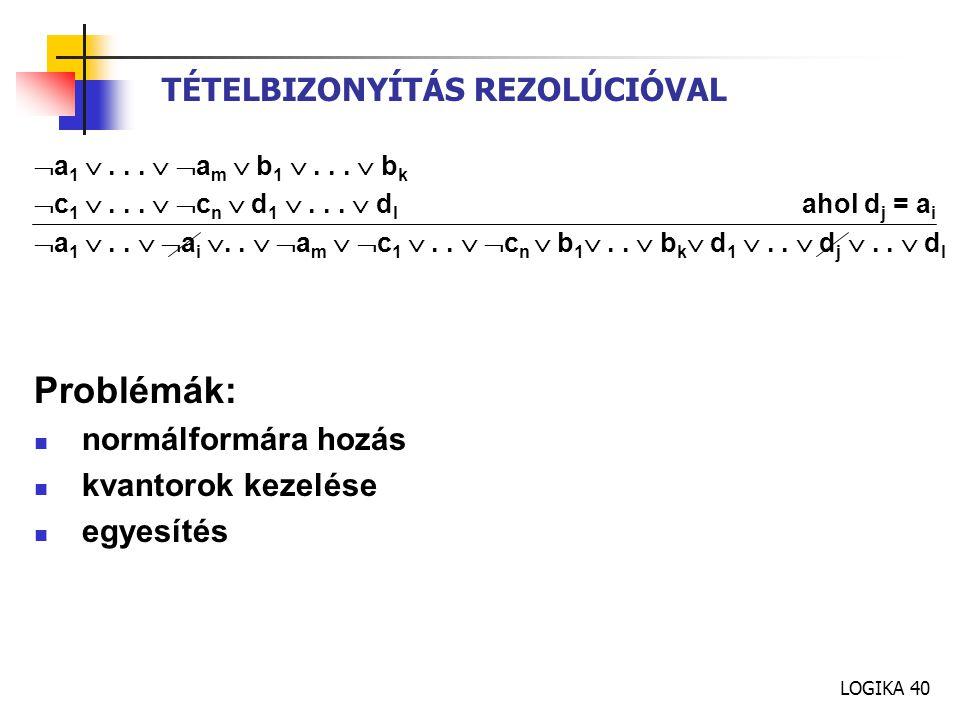 LOGIKA 40 TÉTELBIZONYÍTÁS REZOLÚCIÓVAL  a 1 ...   a m  b 1 ...  b k  c 1 ...   c n  d 1 ...  d l ahol d j = a i  a 1 ..   a i .. 