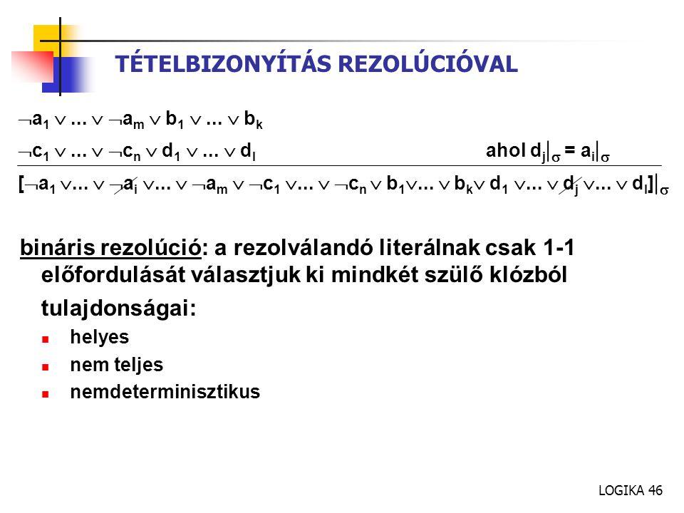 LOGIKA 46 TÉTELBIZONYÍTÁS REZOLÚCIÓVAL  a 1 ...   a m  b 1 ...  b k  c 1 ...   c n  d 1 ...  d l ahol d j   = a i   [  a 1 ...  