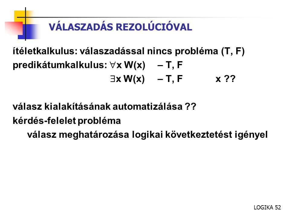 LOGIKA 52 VÁLASZADÁS REZOLÚCIÓVAL ítéletkalkulus: válaszadással nincs probléma (T, F) predikátumkalkulus:  x W(x) – T, F  x W(x)– T, F x ?? válasz k