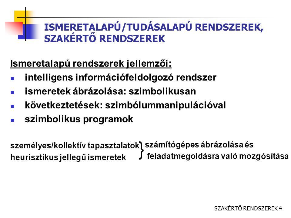 SZAKÉRTŐ RENDSZEREK 4 ISMERETALAPÚ/TUDÁSALAPÚ RENDSZEREK, SZAKÉRTŐ RENDSZEREK Ismeretalapú rendszerek jellemzői: intelligens információfeldolgozó rendszer ismeretek ábrázolása: szimbolikusan következtetések: szimbólummanipulációval szimbolikus programok személyes/kollektív tapasztalatok heurisztikus jellegű ismeretek számítógépes ábrázolása és feladatmegoldásra való mozgósítása }