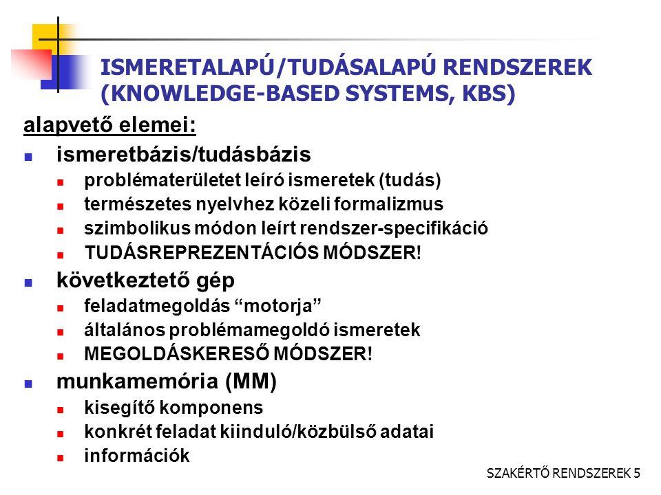SZAKÉRTŐ RENDSZEREK 5 ISMERETALAPÚ/TUDÁSALAPÚ RENDSZEREK (KNOWLEDGE-BASED SYSTEMS, KBS) alapvető elemei: ismeretbázis/tudásbázis problématerületet leíró ismeretek (tudás) természetes nyelvhez közeli formalizmus szimbolikus módon leírt rendszer-specifikáció TUDÁSREPREZENTÁCIÓS MÓDSZER.